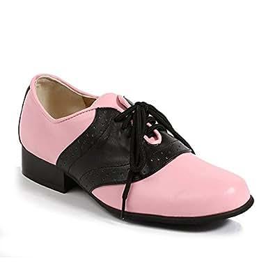 "ELLIE 105-SADDLE 1"" Heel Women Saddle Shoe Lace Up Oxford 50's Costume Shoes, Color:Black W/ Pink, Size:6"