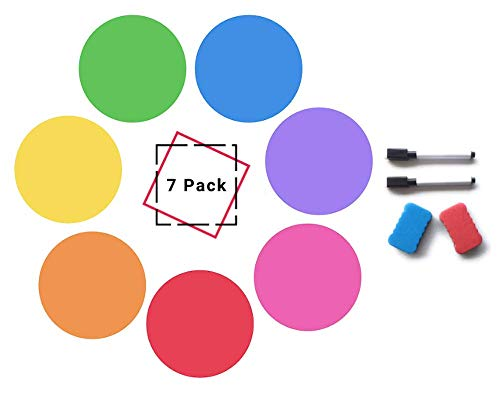 Dry Erase Dots for Tables, Wall pops (Set of 7) Dry Erase Circles: Removable PET Vinyl for Easy Erasing - 7 Multicolor Circle Decals for Tables, Whiteboard, or Wall Pops! -