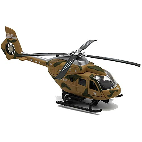 CORPER TOYS Helicopter Military Attack Combat Fighter Airforce Airplane Diecast Metal Pull Back Toy with Lights and Sounds for Kids Boy Toddlers(Army -