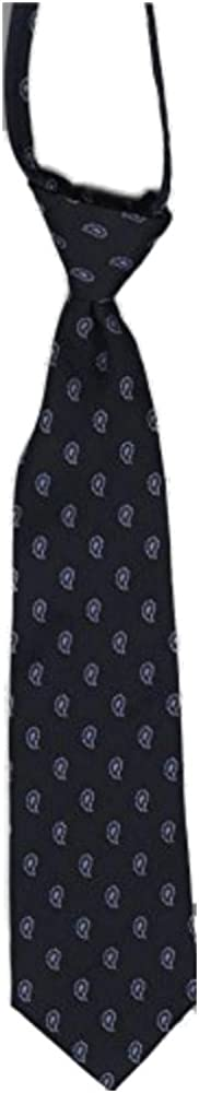 Navy with Small Paisley Youth Boys Silk 14 Zipper Neck