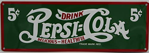 (Pepsi COLA Metal Sign Heavy Embossed Reproduction Vintage ad Sign red Green 5c)
