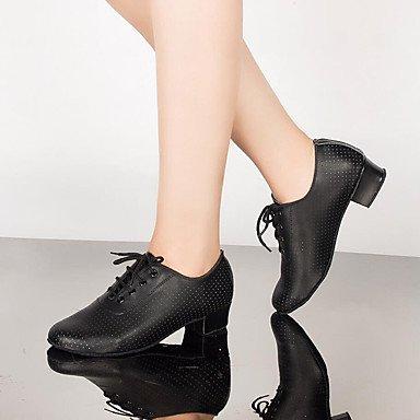 Zapatos baile Salsa Latino de Cuadrado Personalizables Moderno black Tacón Jazz Negro frxwfqT4