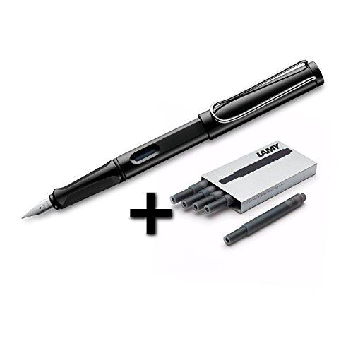 Lamy Safari Fountain Pen (19M) Black & 5 Black Ink Cartridges