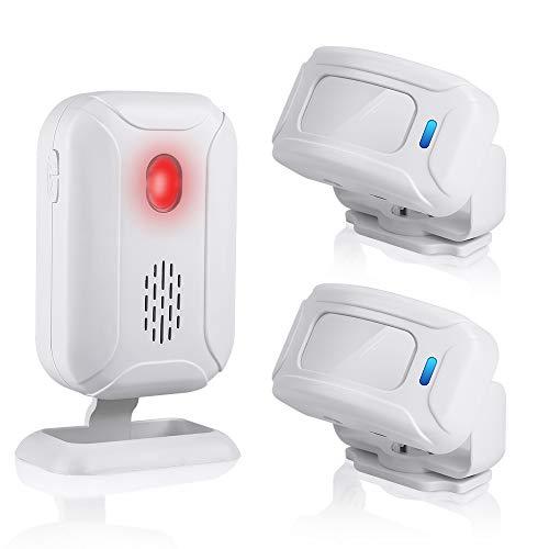 Wsdcam Wireless PIR Motion Sensor Detector Alarm Long Range (Operating Range - 918ft | 4 Volume Levels| 36 Chime Tunes | LED Flashing Light) Motion Alarm Door Alarm Chime For Home Store Business
