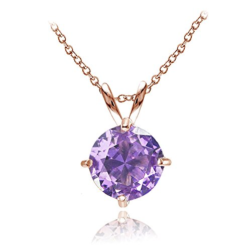 Gold Pink Amethyst Pendant - Rose Gold Flashed Sterling Silver Simulated Amethyst 7mm Round Solitaire Pendant Necklace