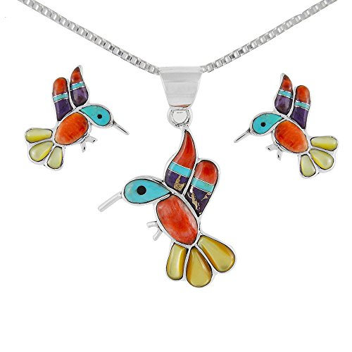 Pendant Hummingbird Sterling (Hummingbird Matching Set in Sterling Silver & Genuine Turquoise (Pendant, Earrings, Necklace 20