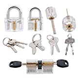 Poweka Transparent Padlock Lock Set, 5 PCS Crystal Visible Cutaway Padlock Kit Training Tools for Locksmith Beginner - Professional Locksmith Tools