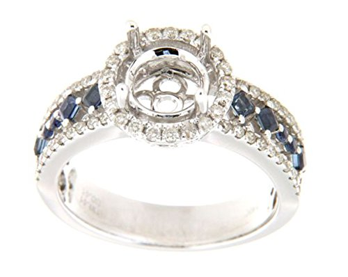 14K White Gold Sapphire & Round Diamond Semi Mount Ring