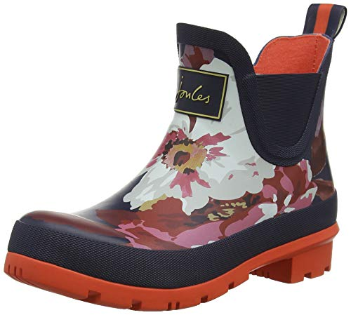 Joules Womens Wellibob Rain Boot, French Navy Bircham Bloom, Size -