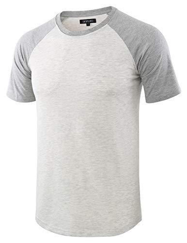 DESPLATO Mens Casual Basic Vintage Active Short Raglan Sleeve Crew Neck T Shirt H.Oatmeal/H.Gray M (Gray Vintage Tshirt)