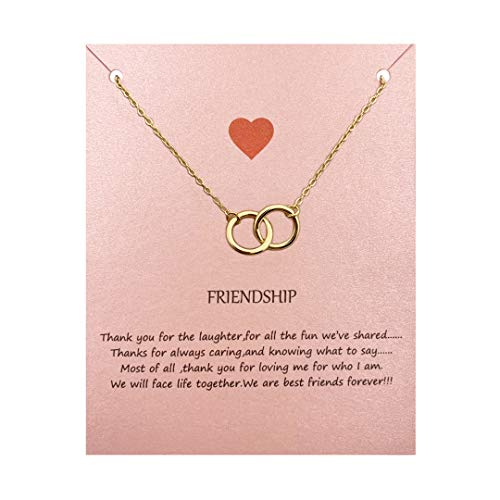 Your Always Charm Double Circle Knot Necklace,Two Interlocking Infinity Circles Gift for Best Friend (Gold) (Double Charm Circle)