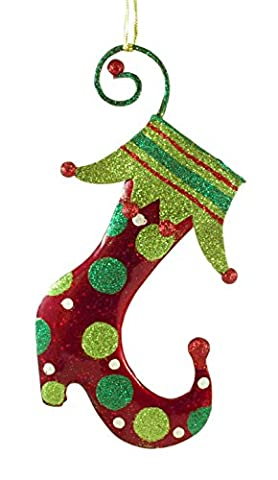 Jester Stocking Metal Glitter Hanging Christmas Ornament - Santa Christmas Ornament Shoes