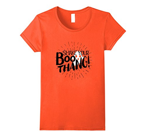 Female Superhero Costumes Homemade (Womens Happy Halloween Shake Your Boo Thing Thang Ghost T-Shirt Medium Orange)