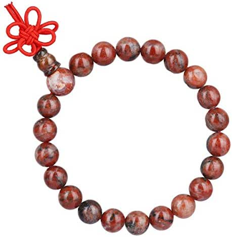 TUMBEELLUWA 8mm Stone Beads Bracelets Prayer Bead Elastic Tibetan Bracelets Bangle Handmade Jewelry for Women Men