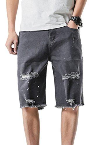 Los Hombres Casual Pantalones Cortos Vaqueros Denim Rasgados Hoyos Black