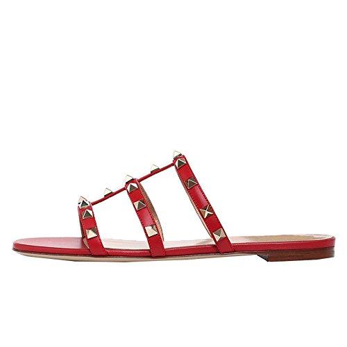 Plates Confortable Mules Rouge Sandales Toe Mat Cloutés Lutalica Mode Féminine Pantoufles Confort Open mN8nwvy0O