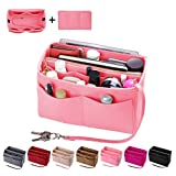 Purse Organizer Insert, Felt Bag organizer with zipper, Handbag & Tote Shaper, Fit LV Speedy, Neverfull, Longchamp, Tote (Slender Large, Light Pink)