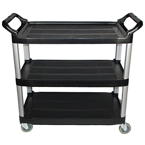(Crayata 3 Shelf Rolling Utility Cart with Heavy Duty Plastic Shelves and Custom Oversized 4 Inch Wheels, 400 Pound Weight Capacity, Black (Large))