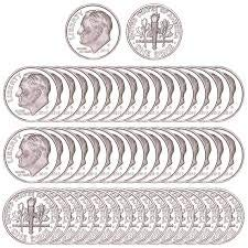 (2019 S Roosevelt Dime Silver .999 Roll of 50 .999 Silver Roosevelt Dime Proofs PF-1)