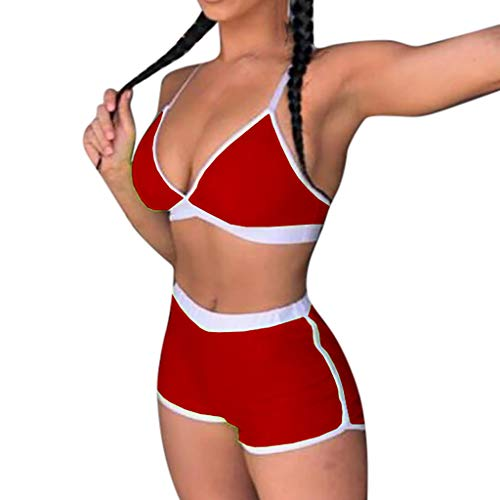 KASAAS 2-Piece Sexy Bathing Suit for Women Contrast Trim Push-Up Padded Bra Boy Shorts Set Beach Swimsuit Swimwear(Small,Red)