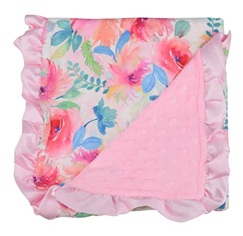 Soft Floral Baby Blanket with Silk Trim
