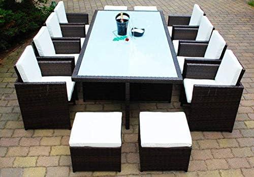 Conjunto de muebles de jardín de polirratán Ragnarök, marca alemana, producción propia, mesa, 8 sillas, 4 taburetes, muebles de jardín con cristal y almohadones, Ragnarök-Möbeldesign (marrón), muebles