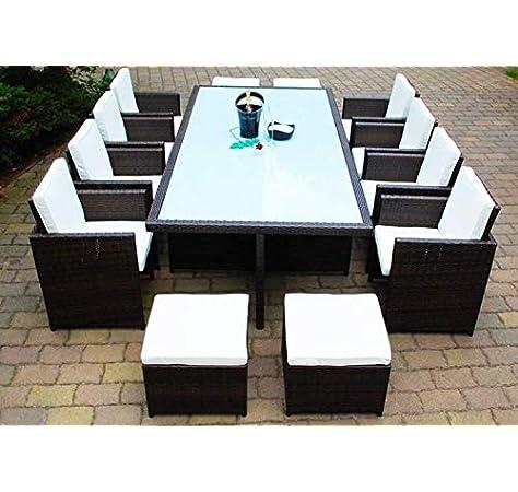 Conjunto de muebles de jardín de polirratán Ragnarök, marca alemana, producción propia, mesa, 8 sillas, 4 taburetes, muebles de jardín con cristal y almohadones, Ragnarök-Möbeldesign (marrón), muebles de jardín, mesa de jardín,