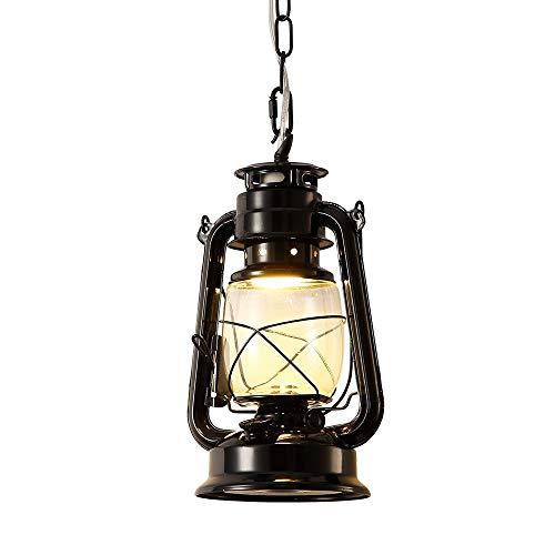 IJ INJUICY Kerosene Lantern Ceiling Light, Vintage Metal Glass Pendant Lamp for Restaurant Living, Dining Room, Cafe Bar,Loft Black