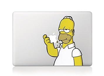 new concept 55f1e f320d MacBook Homer The Simpson Apple Vinyl Decal Sticker For MacBook Pro/Air 13