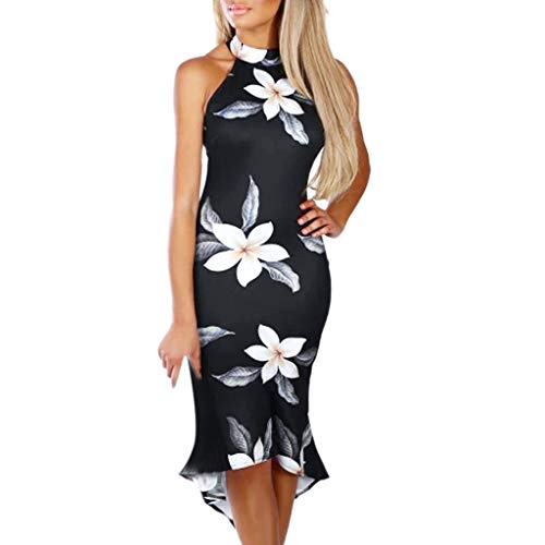 CCOOfhhc Womens Dresses Halter Neck Sheath Dress Summer Off The Shoulder Ruffle Floral Print Bodycon Midi Dress Black