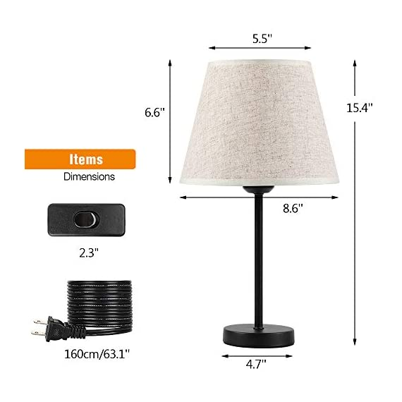 "Bedside Nightstand Table Lamps, Small Black Metal Lamp with Linen Lampshade for Bedroom Living Room College Dorm Office, Set of 2 - Set of 2 table lamps. Each is 15.4'' high overall. Shades are 5.5'' acroos the top, 8.6'' the bottom and 6.6"" high. Each lamp uses one maximum 60 watt standard-medium E26 bulb (not included). This small lamps features a black metal base and linen shade to meet your basic fashion lighting needs - lamps, bedroom-decor, bedroom - 41KBZC4bisL. SS570  -"