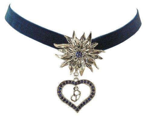 Trachtenschmuck Dirndl Edelweiss Kropfband aus Samt - blau- Kristall Herz & Brezel - Sapphire königsblau