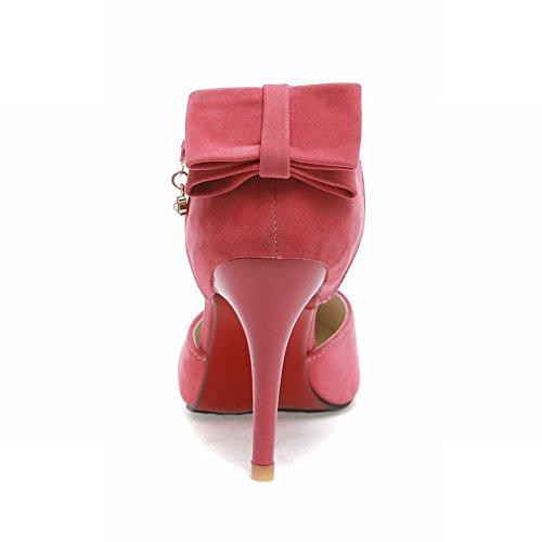 Elegance Peach Sweet Fashion Womens Pointed High Dress Stiletto Toe Sandals Red Buckle Carolbar Bridal Heel Bows AU6Ywa