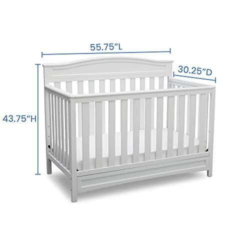 Delta Children Emery 4-in-1 Convertible Baby Crib, White