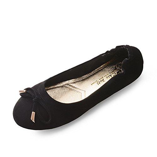 Zapatos de moda/Cabeza arco zapatos/Simple superficial plana zapatos de mujer D