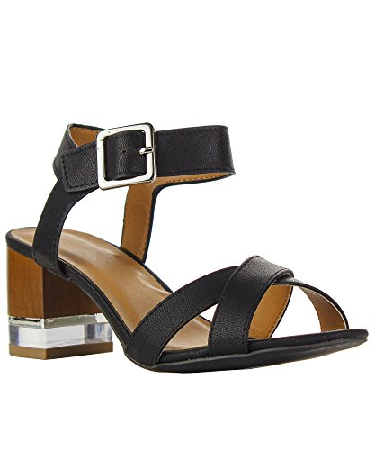 RF ROOM OF FASHION Open Toe Criss Cross Design Ankle Strap Closure Lucite and Wood-Look Black Heel Sandals Black (7) (Strap Clog Casual Ankle Womens)