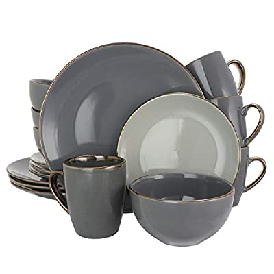 Elama Tahitian Round Stoneware Grand Collection Dinnerware Dish Set, 16 Piece, Assorted Solid Gray - ◈A STUNNING ACCENT TO YOUR TABLE◈ The Elama Tahitian Grand 16 Round Stoneware Dinnerware Set in Assorted Solid Gray ◈BEAUTIFULLY COLORED◈ In assorted tones of Solid Gray, this tableware set will surely set a tone at dinner time ◈A FULL SERVICE FOR 4◈ Each dish is creatively crafted into a unique and contemporary shape, adding a little something more special to meal time - kitchen-tabletop, kitchen-dining-room, dinnerware-sets - 41KBZUBKZvL. SS400  -