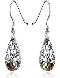 925 Sterling Silver Filigree Dangle Earrings for Women Fashion