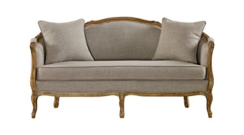 Baxton Studio Corneille French Country Weathered Oak Linen Upholstered 2-Seater Sofa, Beige Country Oak Sofa