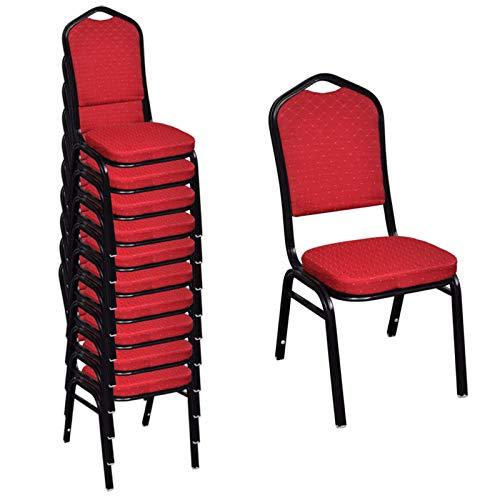 Matstolar lounge fritidsstolar vadderad stol bord stapelbar röd 10 st. restaurangstolar