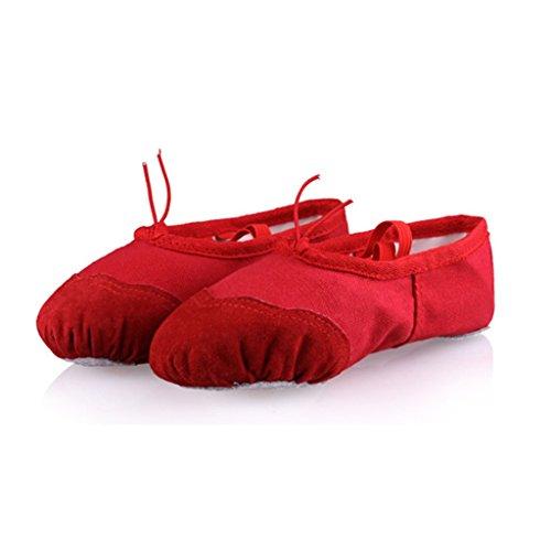 DoGeek Alta Calidad Transpirable Zapatos de Ballet Zapatillas de Ballet de Danza Baile Para Niña Rojo