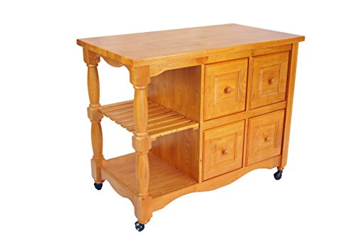 Sunset Trading Oak Selections Kitchen Cart, Four Drawers, Light