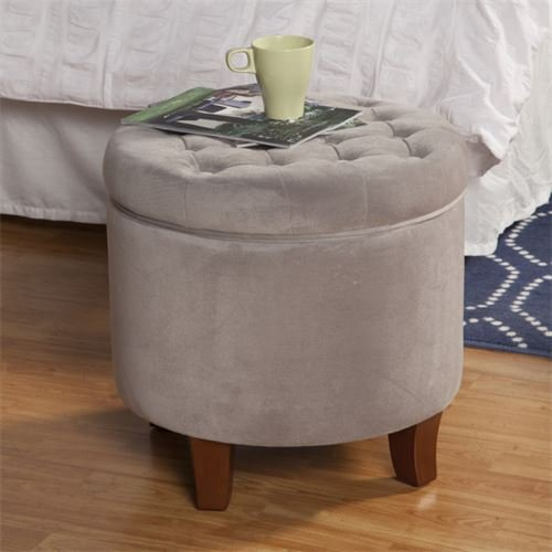 Kinfine Round Tufted Storage Ottoman, Gray Velvet