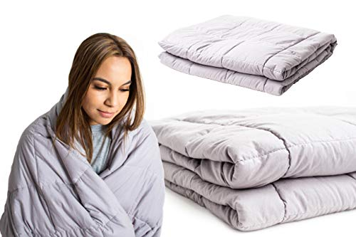SYC & CO Premium Weighted Blanket & 100% Cotton Removable Cover Gravity 20LBS 60x80 Calming Heavy Blankets Therapy Full Size for Adults with Free Travel Bag (Removable Cold Pack)