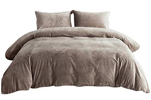 PHF Velvet Duvet Cover Set 3 Pieces Luxury Soft Solid Bedding Set for Summer King Size Dark Khaki (Khaki King Comforter Set)
