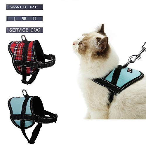 Stock Show Reflective Dog Cat Vest Harness Soft Mesh Padded Safety Harness & 1Pc Free Patch for Small Dog Puppy Cat(Leash Not Included) Service Dog Walking Me I Love U Patches Send Randomly, Blue