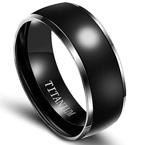 8mm Black Solid Real Titanium Metal Ring (8) (Solid Ring Black)