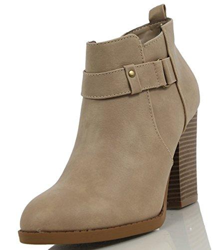 Utsökta Kvinnor Tribute Konstläder Ankel Staplade Klackar Boots, Naturlig, 10 M Oss