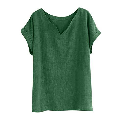 QIQIU V-Neck Cotton Linen Tops Womens 2019 Casual Short Sleeve Loose Tank Shirt Solid Summer T-Shirt Green ()