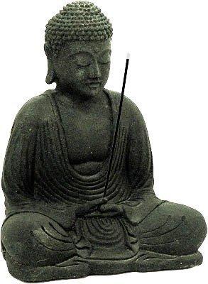 Meditating-Buddha-Statue-and-Incense-Holder-Volcanic-Sandstone-Black-Stone